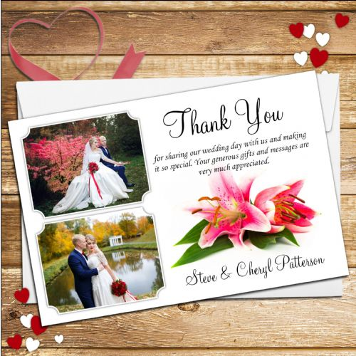 10 Personalised Lily Flower Wedding Thank you Photo cards N84